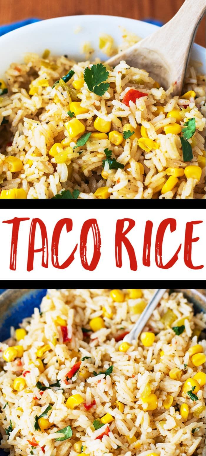 Taco Rice - This flavorful rice is a wonderful side dish, taco filling, or burrito filling. Made with taco seasonings, corn, and green chiles! #Mexican #Rice #EasyDinner via @casserolecrissy #seasonedricerecipes