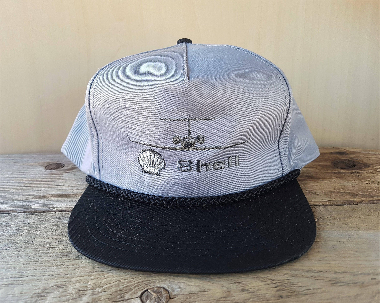 Shell Aviation Vintage 90s Snapback Hat Rope Lined Two Tone Aerocenter Baseball Cap Ajm Embroidered Aircraft Twill Ballcap Snapback Hats Hats Vintage Aviation