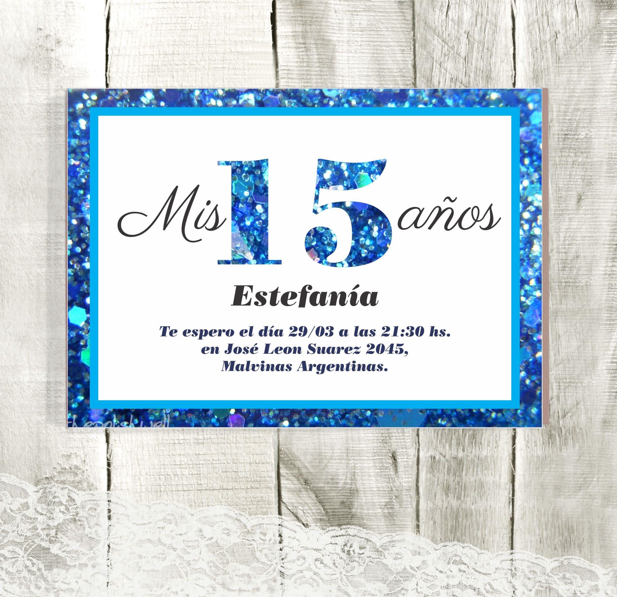 Invitación 15 Años Con Detalles Glitter En Azul Strong