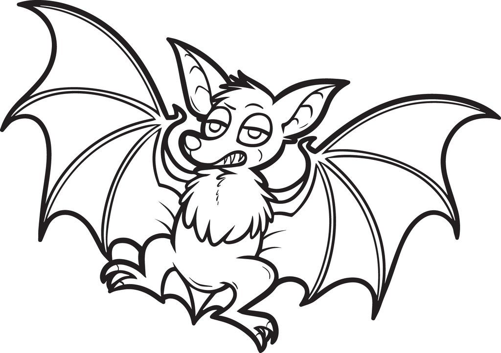 Printable Cartoon Bat Coloring Page For Kids Bat Coloring Pages