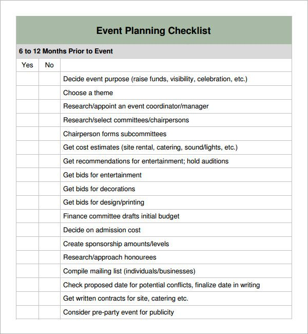 Special Event Planning Checklist  Event Planning