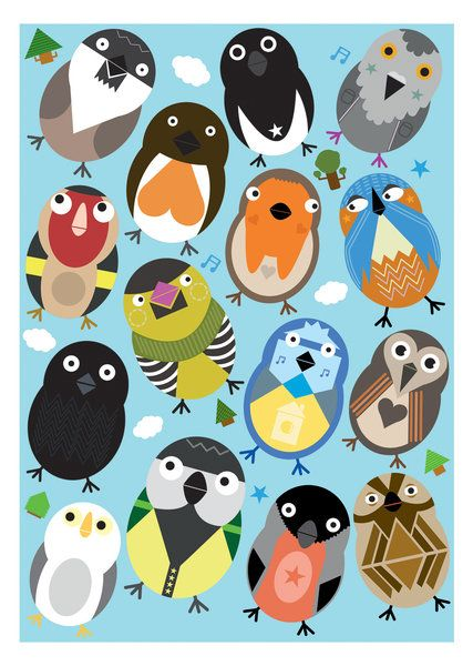 British Birds print by Kev Munday