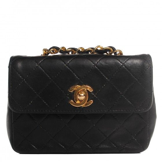 2af2006737d8 This is an authentic CHANEL Vintage Lambskin Quilted Micro Mini Flap in  Black. This stylish vintage shoulder bag is crafted of luxurious diamond  quilted ...