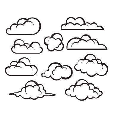 Set Of Clouds Vector Cloud Drawing Cloud Vector Monochrome Illustration