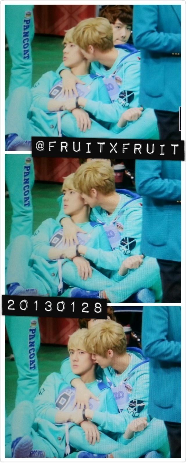 HUNHAN Luhan taking care of Sehun. In private, Sehun doesn't use honorifics when talking with Luhan.