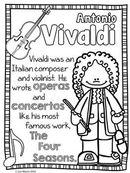 Baroque Composers Coloring And Fact Sheets Elementary Music