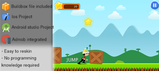"""ABC Runner game for iOS and Android """"Buildbox"""" Runner"""