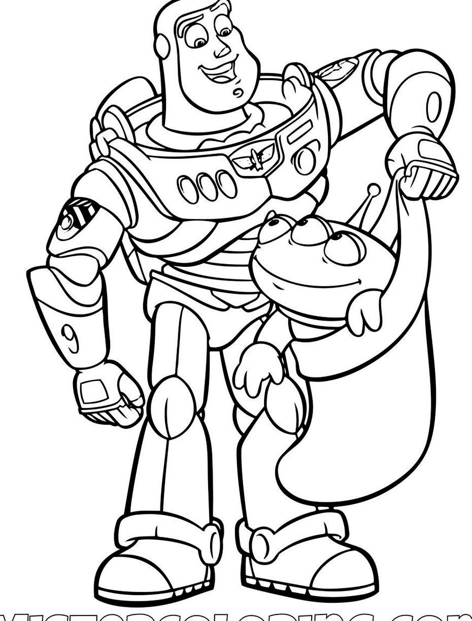 Buzz Lightyear With An Alien In A Christmas Sock Toy Story Coloring Page In 2020 Toy Story Coloring Pages Mermaid Coloring Pages Disney Coloring Pages