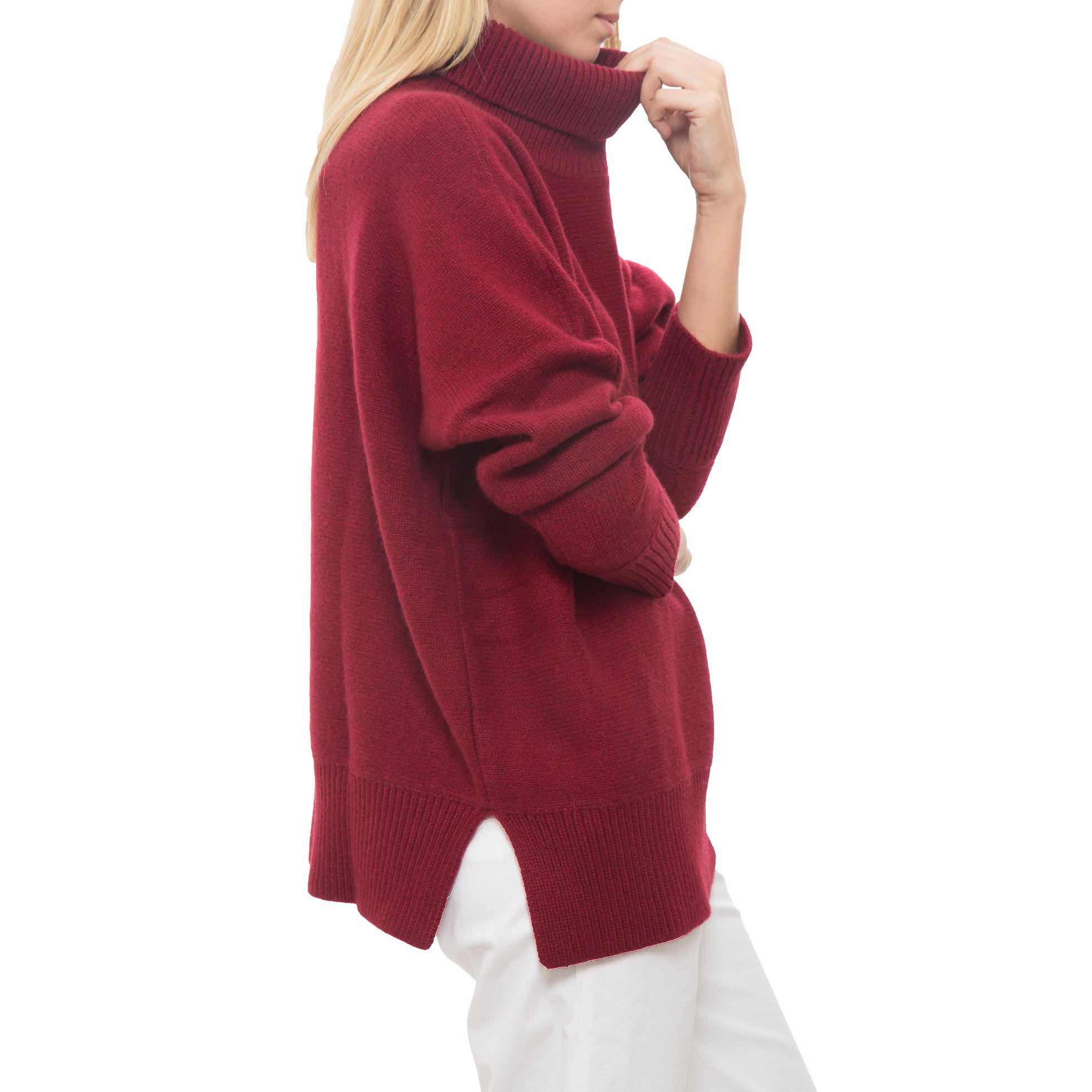 Vanessa Bruno | dark red oversized ribbed turtleneck sweater ...