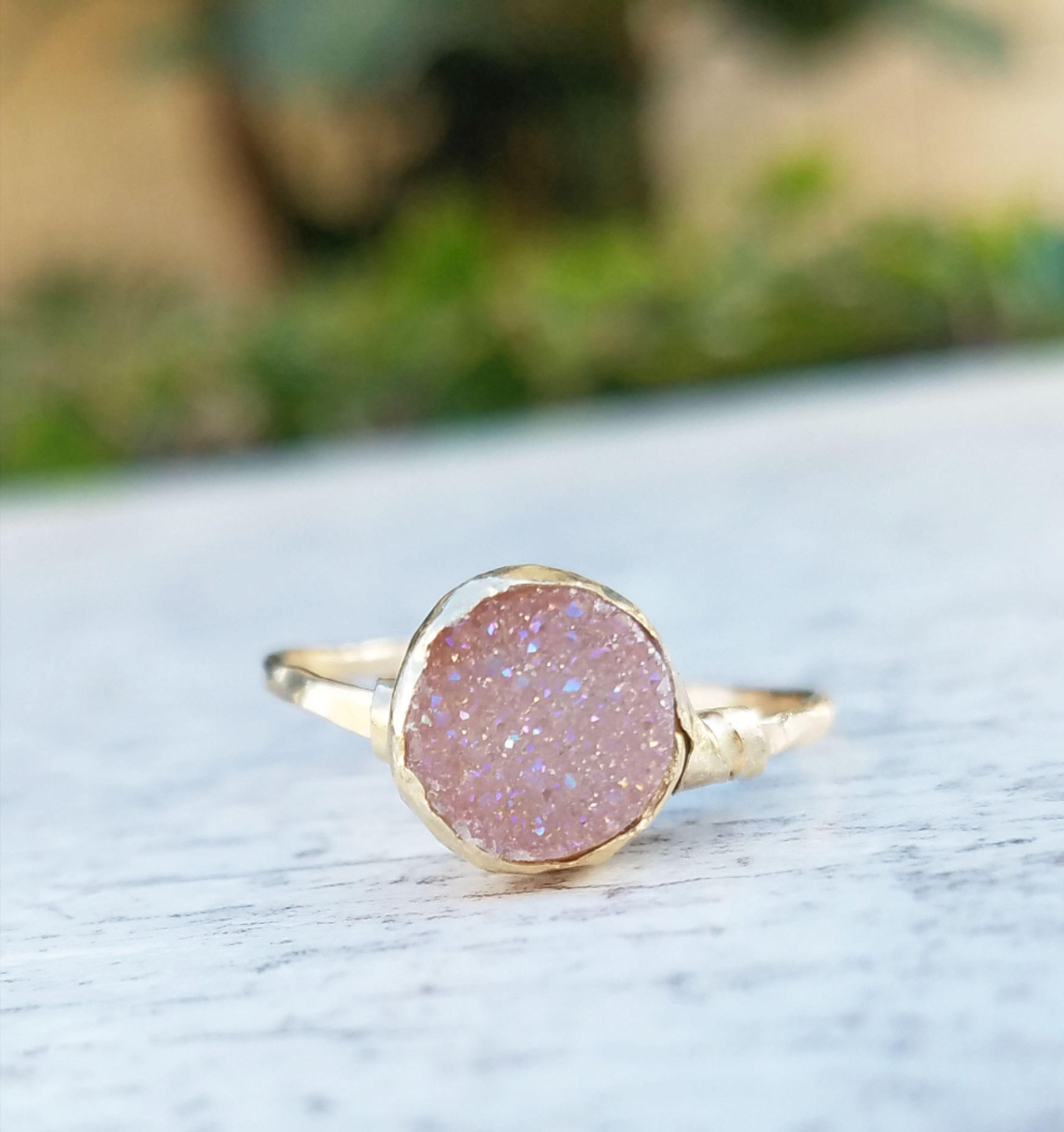 Beautiful Women/'s Ring |Feminine Rings 14k Yellow Gold Plated Ring Natural Stone Ring Large  Druzy Quartz Ring Cute Girl/'s Ring