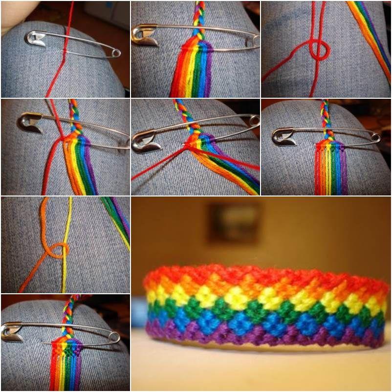 How to DIY Weave Rainbow Color Baubles Bracelet | Macramee ...
