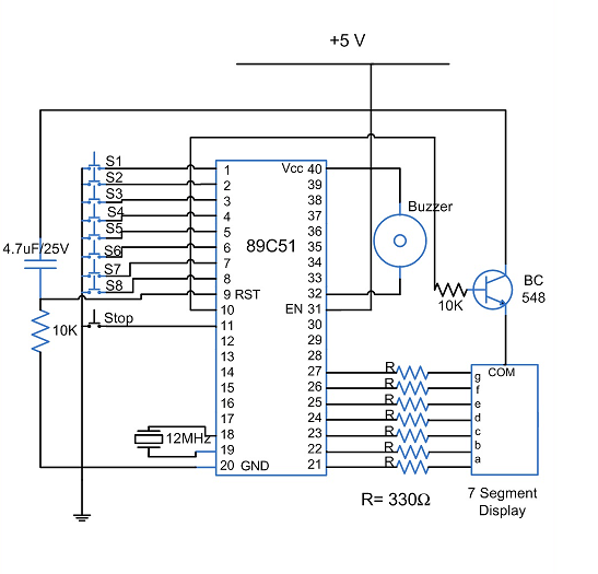 8 candidate quick buzzer using at89c51 microcontroller cicruit 8 candidate quick buzzer using cicruit diagram ccuart Images