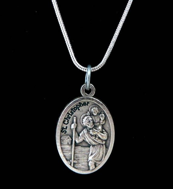 St christophers medal necklace vintage italian charm silver st christophers medal necklace vintage italian charm aloadofball Images