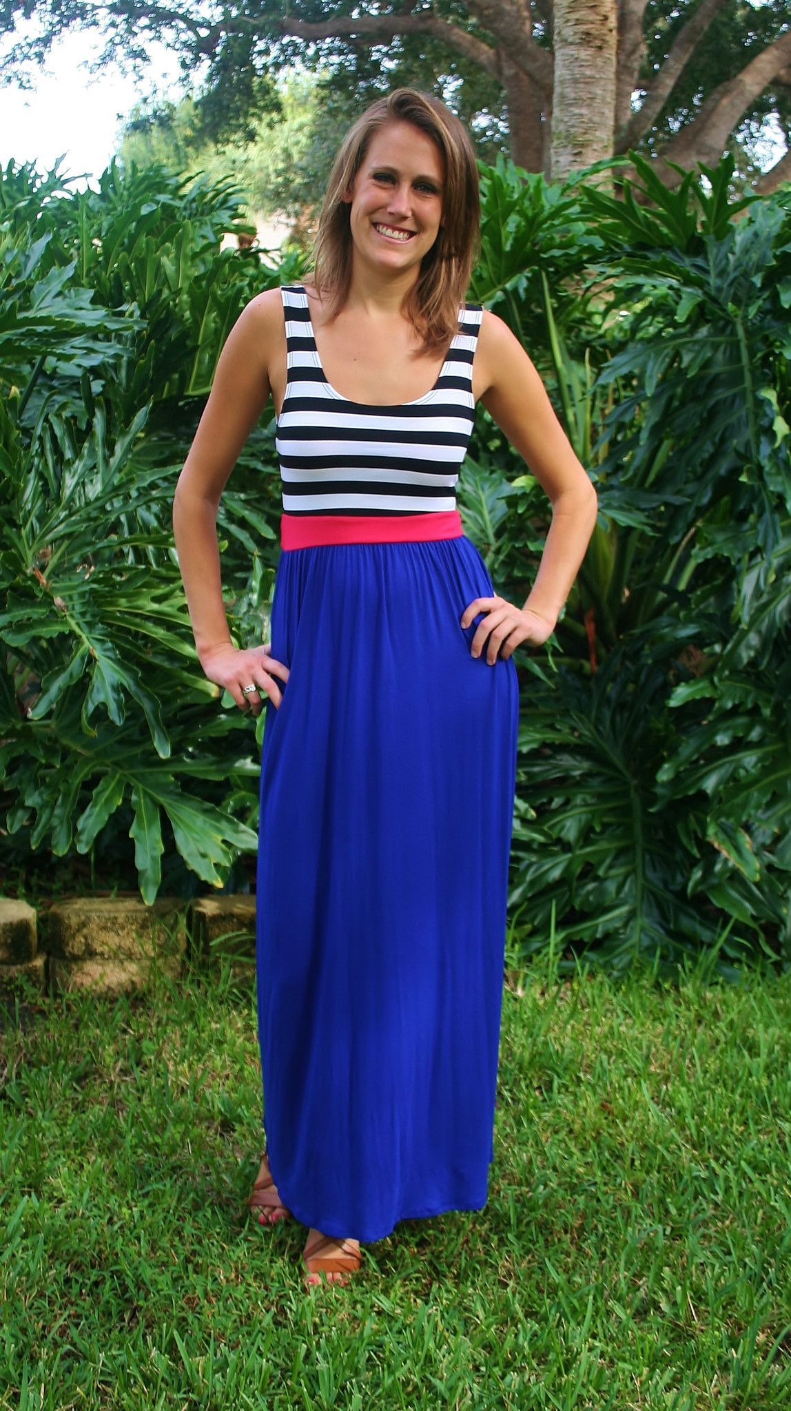 Black and Royal Blue Maxi Dresses