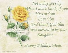 Happy Birthday Quotes For Daughter ~ Moms birthday in heaven in loving memory happy birthday mom in