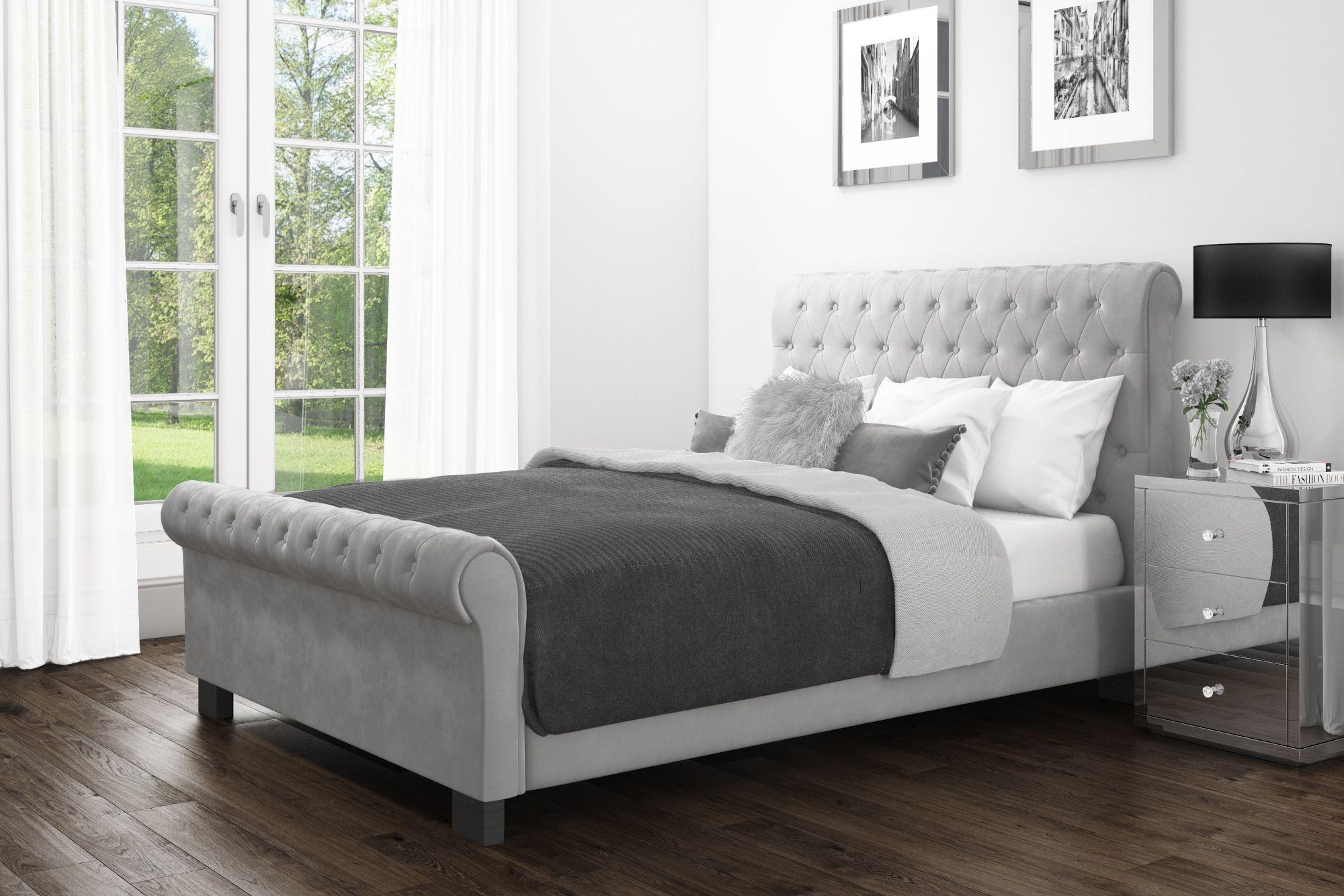 Grey Velvet Roll Top Sleigh Bed Grey Bed Frame Grey Velvet Bed