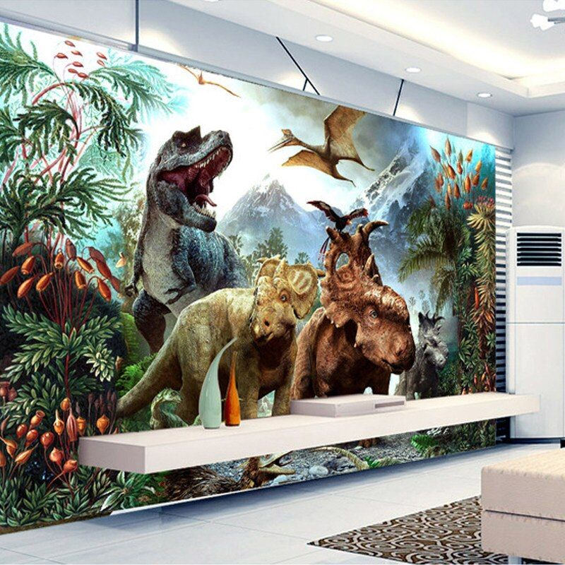 3d Dinosaur Wallpaper Personalized Custom Wall Murals Jurassic Park Photo Wallpaper Kids Boys Bedroom Office Shop Art Room Decor Photo Wallpaper Dinosaur Wallpa Dinosaur Wallpaper Custom Wall Murals Mural Wallpaper