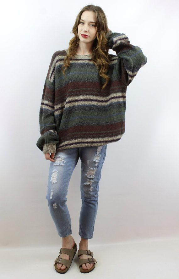 b4dc96c2777 Vintage 90s Striped Oversized Knit Sweater Jumper
