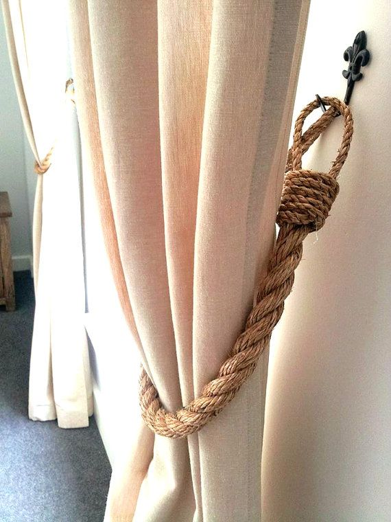 Chunky Rustic Manila Rope Curtain Tiebacks Shabby Chic Vintage Style