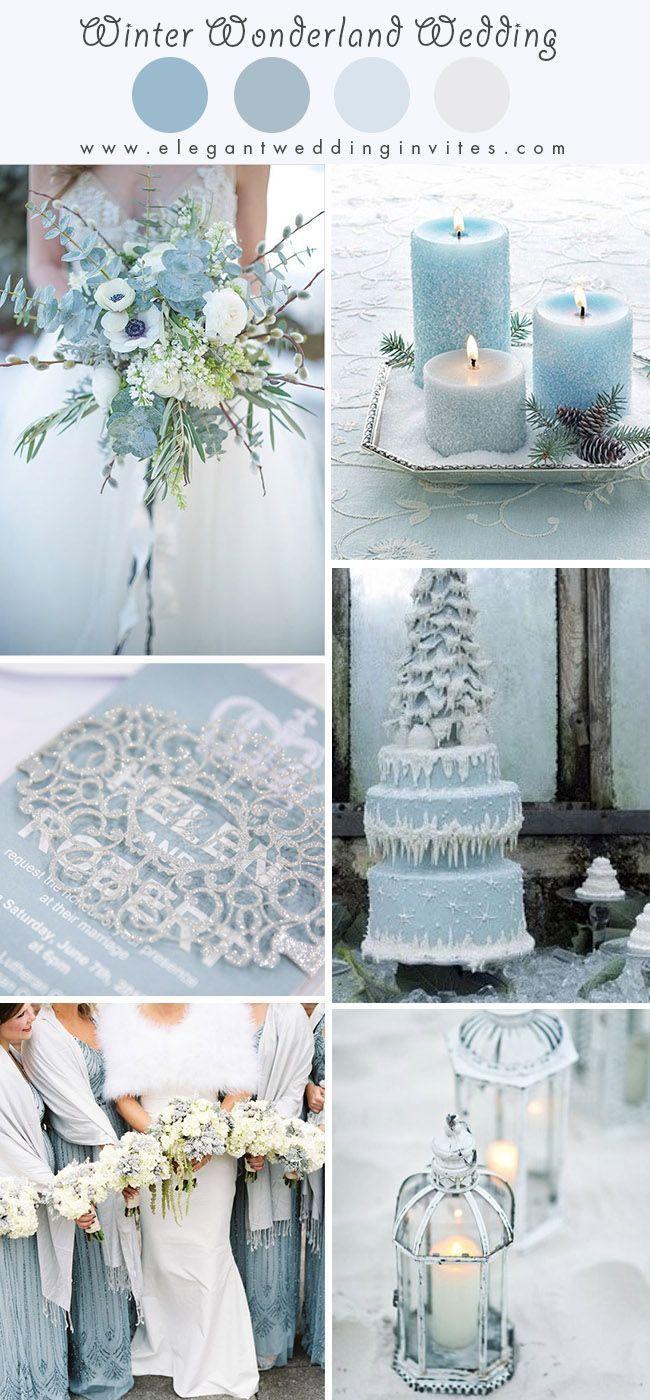 light blue wonderland theme snowy winter wedding color ideas weddings colors sum...