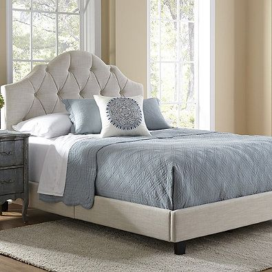 0b9687c941 Pulaski All-N-One Upholstered Tuft Saddle Queen Bed in Cream | Home ...