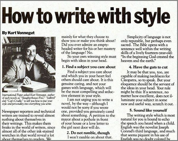 How To Write With Style By Kurt Vonnegut The 1980 Edition Writing Essay Plan Classroom Fun Essays