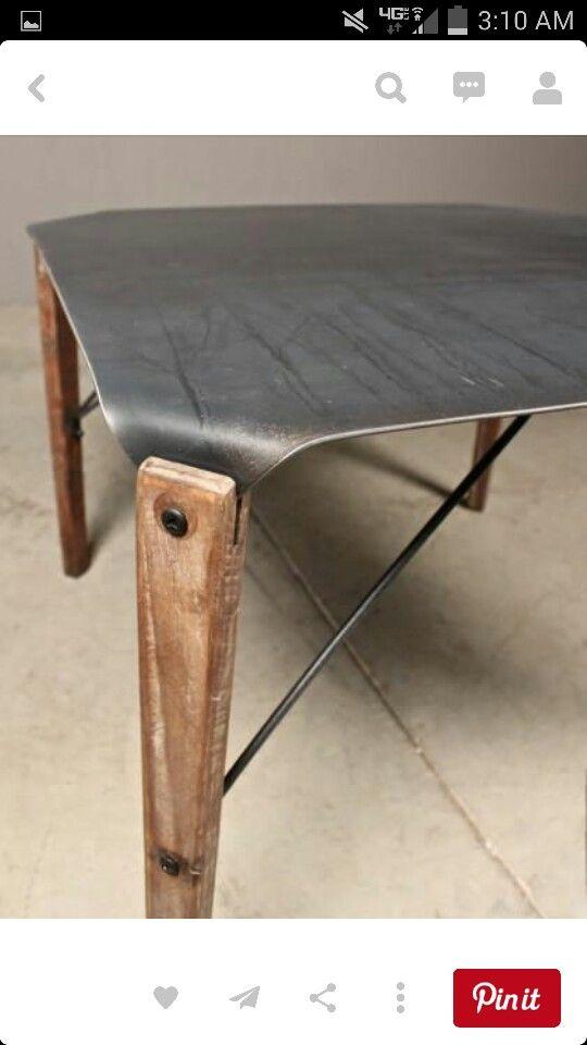 Bent Steel And Wood Table Metal Furniture Wood Furniture Metal Coffee Table