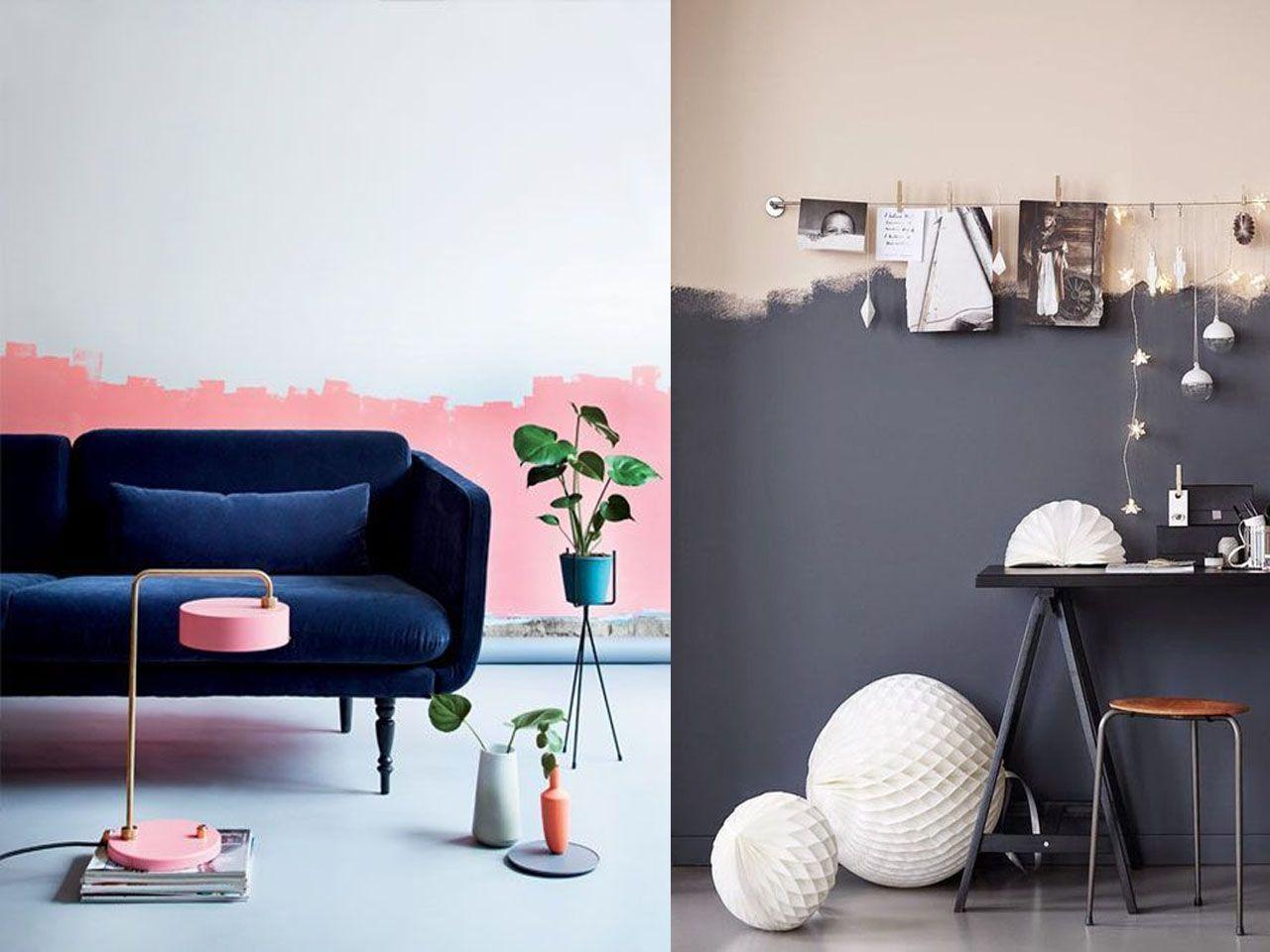 Tendencias 2017 paredes de dos colores colores para el - Paredes pintadas originales ...