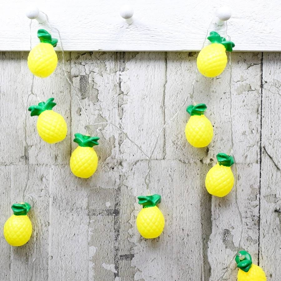Get the party started with these fun string lights! Featuring 10 LED lights shaped like pineapples.These lights are battery opporated and require 3x AA batteries, which are not included. They run at 150cm in length, so plenty to go around! We are happy to announce that we have won the not on the high street award for best customer services for 2014. With free UK delivery on everything, and no minimum spending limit.Acrylic and glass. Pineapple Height - 7.5cm. Garland Length - 150cm. 30cm…