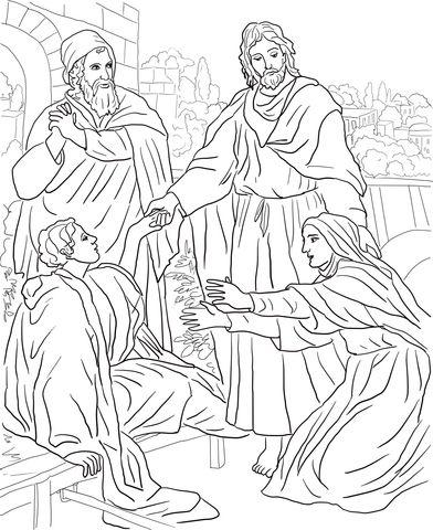 Jesus Raises Widow S Son Coloring Page Biblie Copii