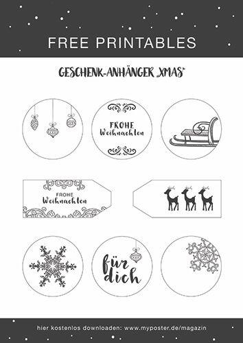 Bilder Weihnachten Kostenlos Schwarz Weiß.Kostenlose Geschenkanhänger Freebie Für Dein Geschenk