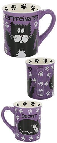 'Cat'ffeinated Cat Mug at The Animal Rescue Site. BONUS! 20% of every purchase will be donated to help support the Humane Society of the United States!
