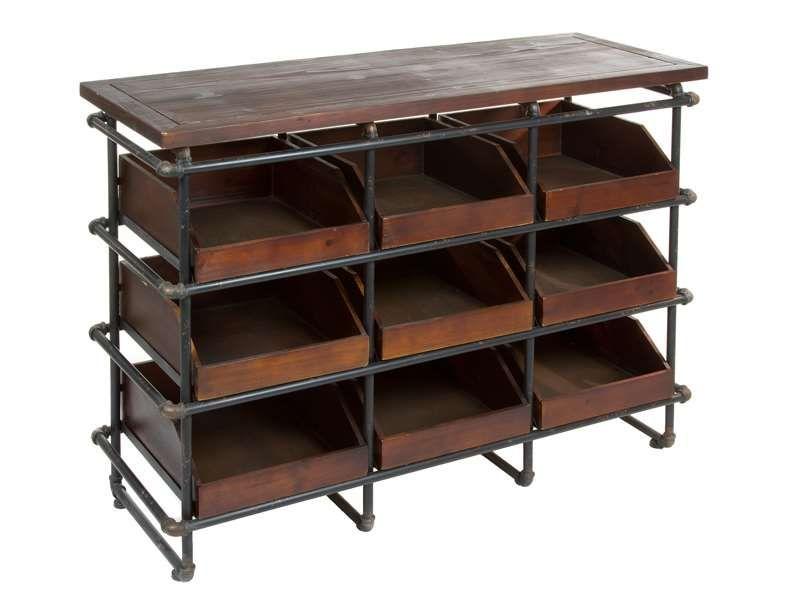 Mueble Expositor madera metal Aerte   MUEBLE RUSTICO INDUSTRIAL ...