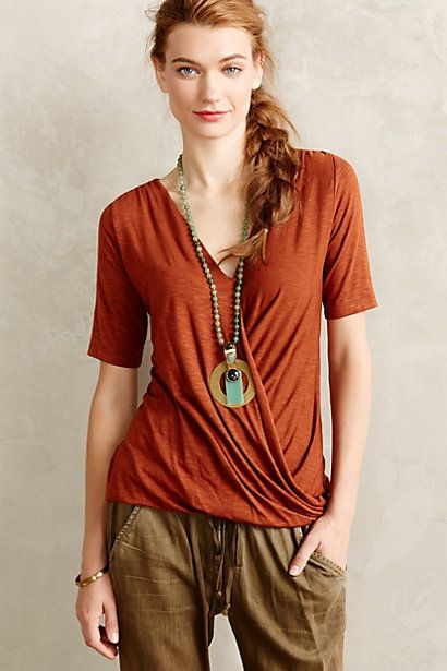 9115dcb21a3a95 LOVE this copper colored shirt. Great summer to fall transitional piece.  Manen Top  anthropologie