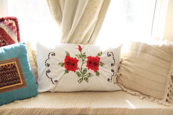 Vintage Mexican Style Embroidered Floral Pillow by WildPoppyGoods