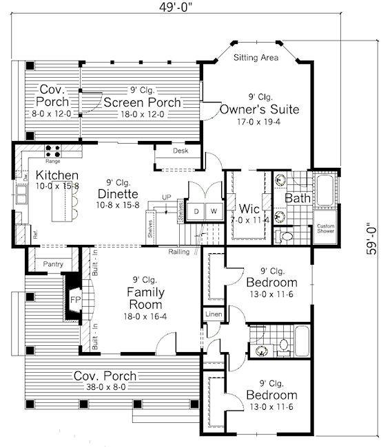 Efficient Kitchen Floor Plans: House Plan #51-349 A Wonderful Wraparound Porch Welcomes