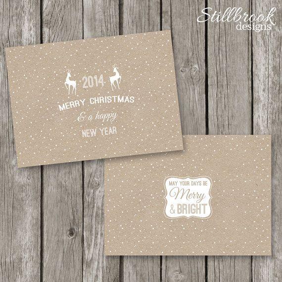 Printable Christmas Card Template - DIY Kraft Christmas Card ...