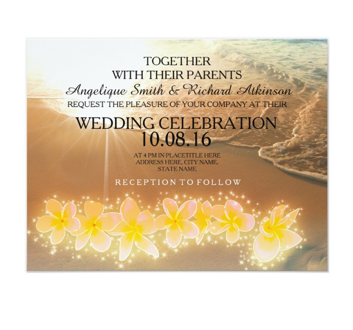 plumeria wedding invites