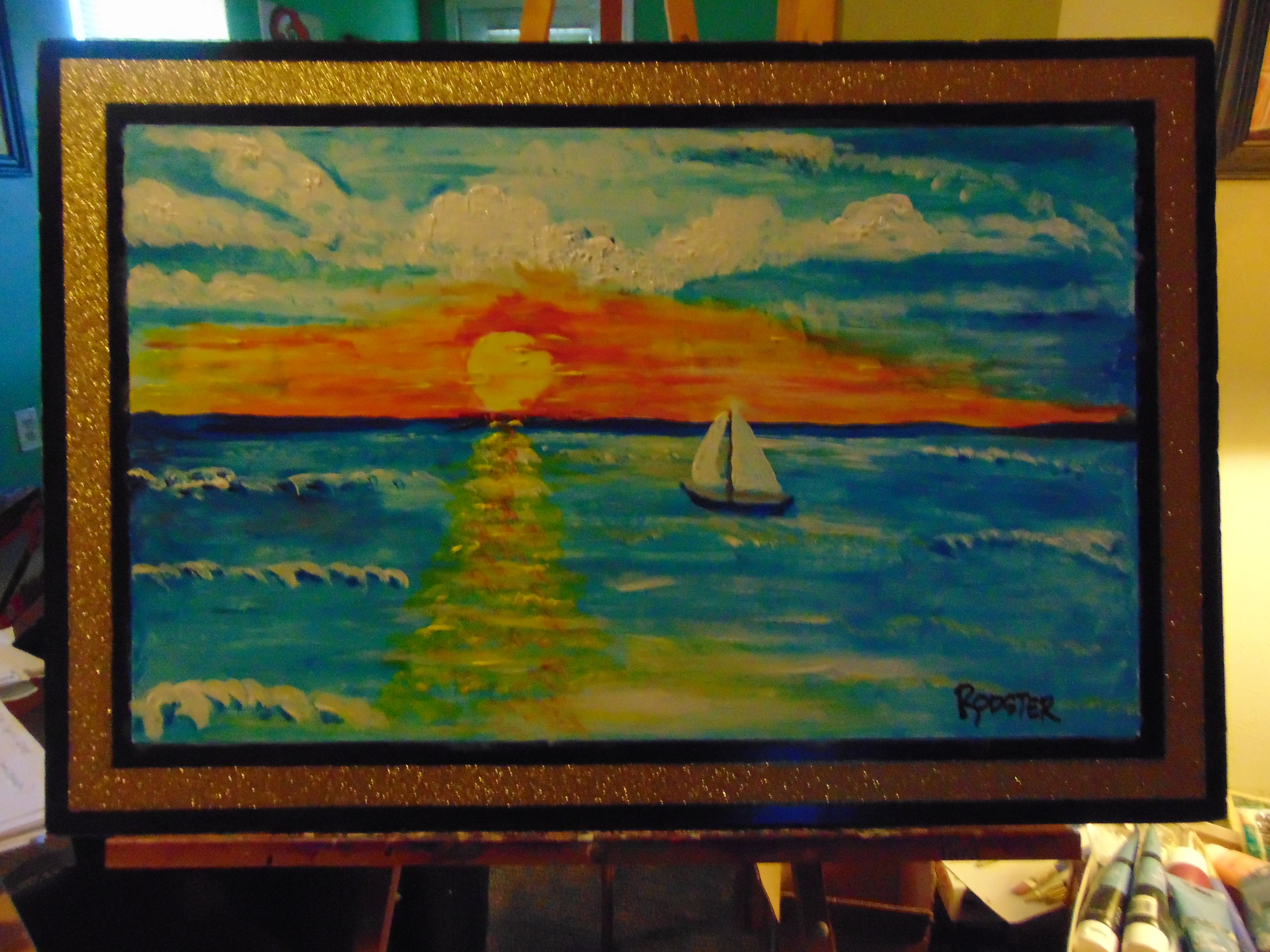 Acrylic Paint On Poster Board 18x36 Art Painting Drawings