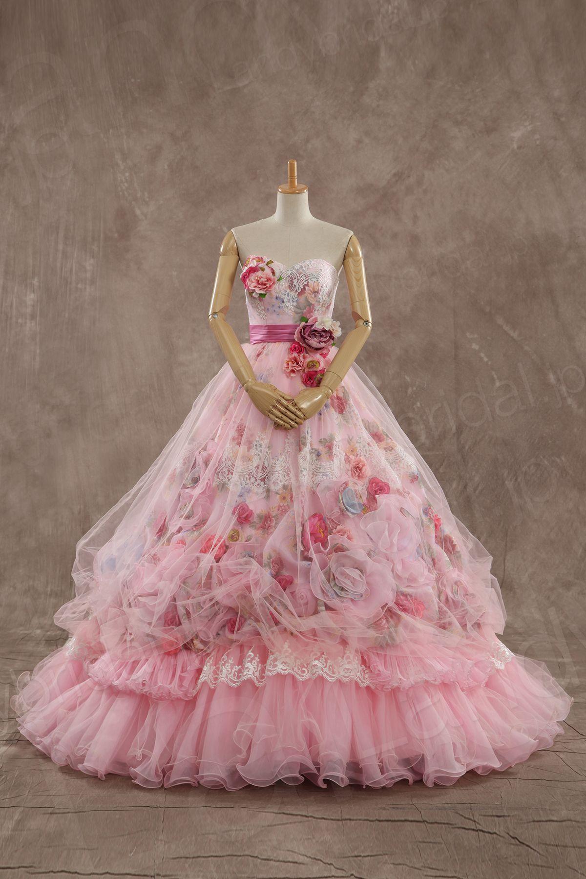 カラードレス プリンセス ピンク シルクオーガンジ プリント柄 リボン ...