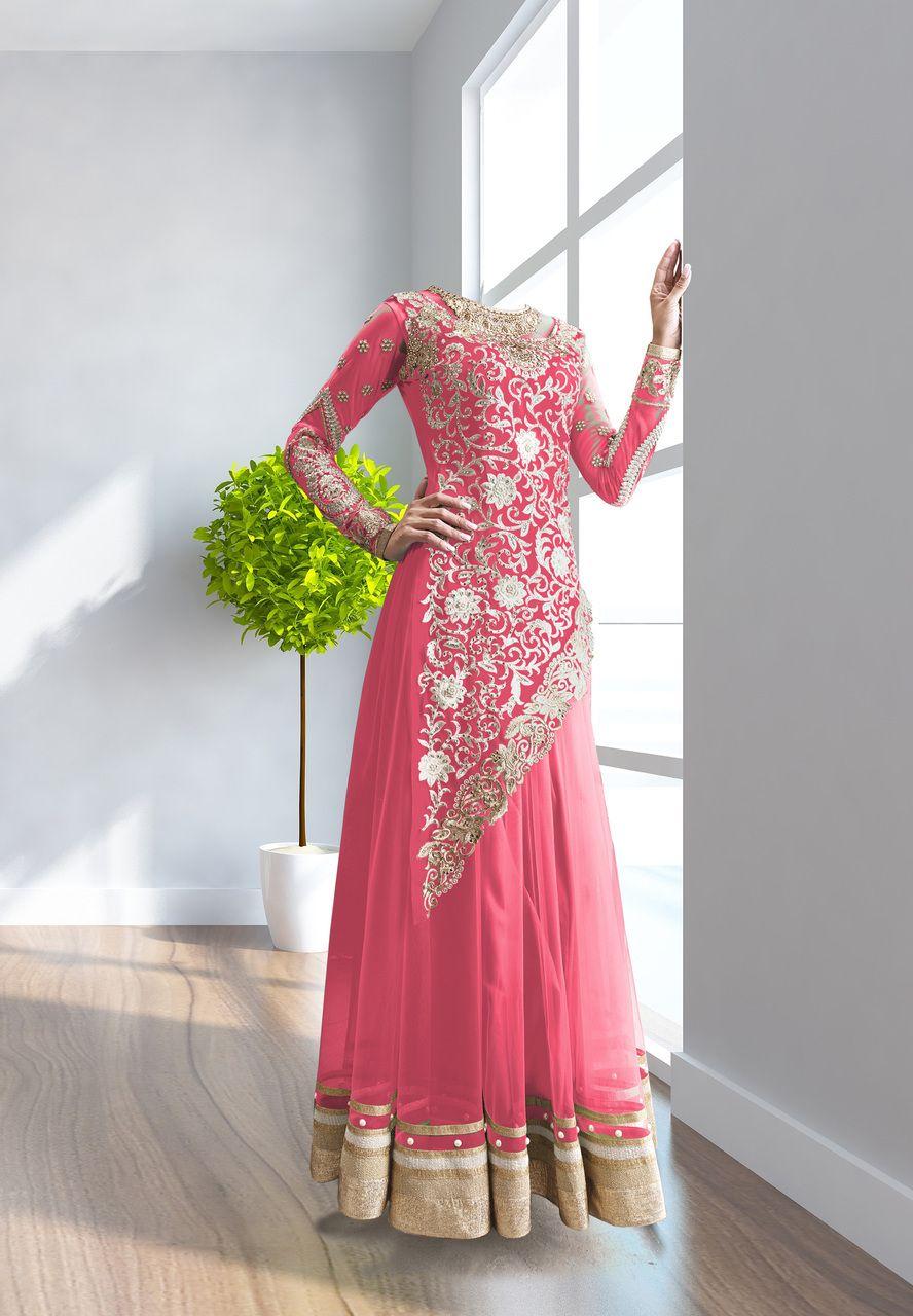 Pink color georgette u net based semi stitch dress material afm