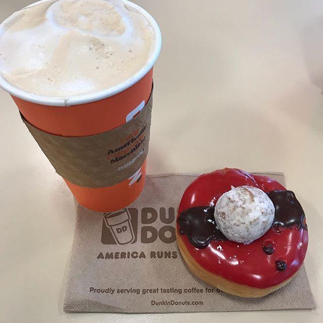 Santa Donut... Caramel Latte #dunkindonuts