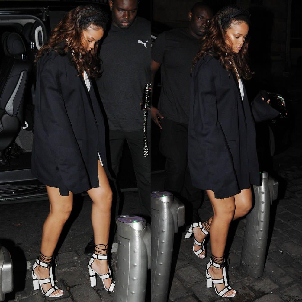 Black sandals rihanna - Rihanna Wearing Tom Ford White Patchwork Sandals