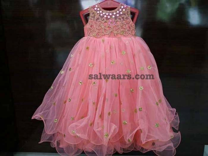 135a3d7f41 Light Peach Net Frock - Indian Dresses Baby Girl Birthday Dress, Birthday  Frocks, Baby