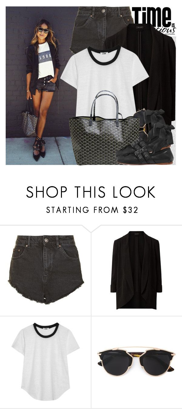 """2610. Blogger Style: Sincerely, Jules"" by chocolatepumma ❤ liked on Polyvore featuring Oris, Topshop, LnA, Christian Dior, Goyard, Miu Miu, casual, black, BloggerStyle and sincerelyjules"
