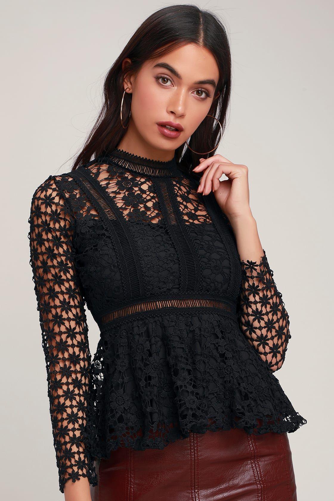e7c0629c6e Electricity Black Lace Long Sleeve Peplum Top in 2019 | Fashionable ...