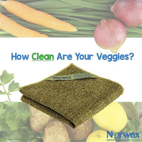 use the norwex veggie and fruit scrub cloth to clean your fruits