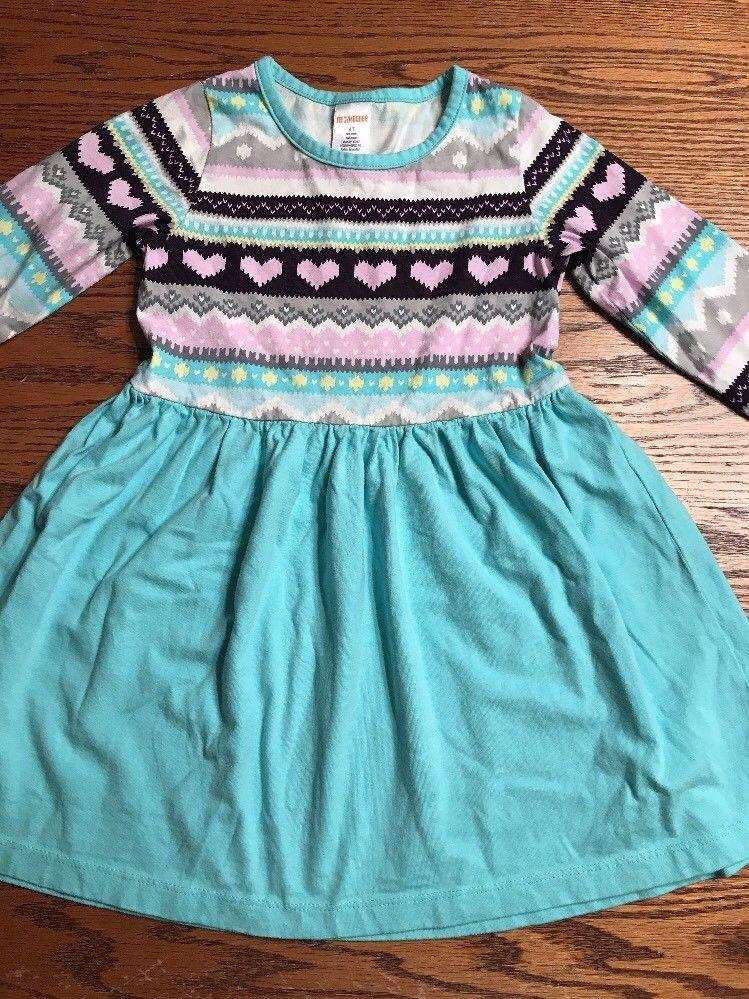 Gymboree Toddler Girls Size 4T Fair Isle, Hearts Print Long Dress ...