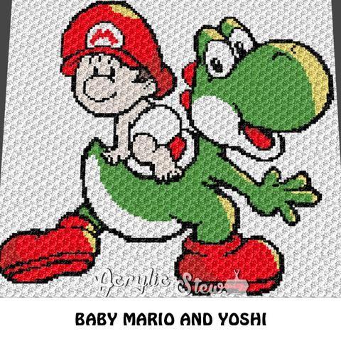 Kawaii Baby Mario and Yoshi crochet blanket pattern; graphgan ...