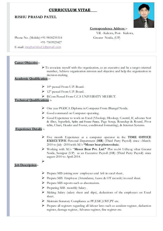 Sample Hr Resume Objective Resumeexample Resumetemplate Curr Job Format Samples Manager Personal Statement